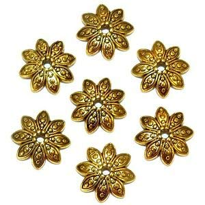 Steven_store ML5199 Antiqued Gold 14mm Round 8-Petal Pointed Flower Metal Bead Caps 100pc Making Beading Beaded Necklaces Yoga Bracelets