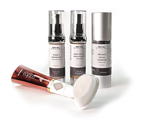NEW SPA Time Re-Verse Cosmetic 4 in 1 Gift Set: Vit C Serum, Total Hydration Serum, Organic Cleanser, Sonic Brush