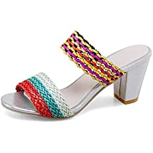 Women Mules Open Toe Pump Summer New High-heel Woven Sandals Beautiful Fashion Cool Slippers