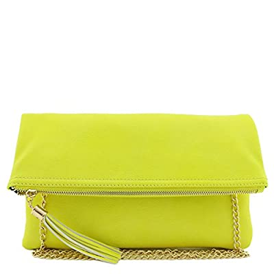 Tassel Accent Flapover Clutch Purse with Chain Strap