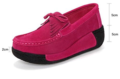 WUIWUIYU Women's Slip-on Suede Moccasins Platform Loafers Wedges Comfort Work Walking Shoes Rose Red i8UgyB7Y2p