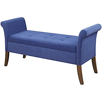 Convenience Concepts 143634FBE Designs4Comfort Garbo Storage Bench, Blue  Fabric