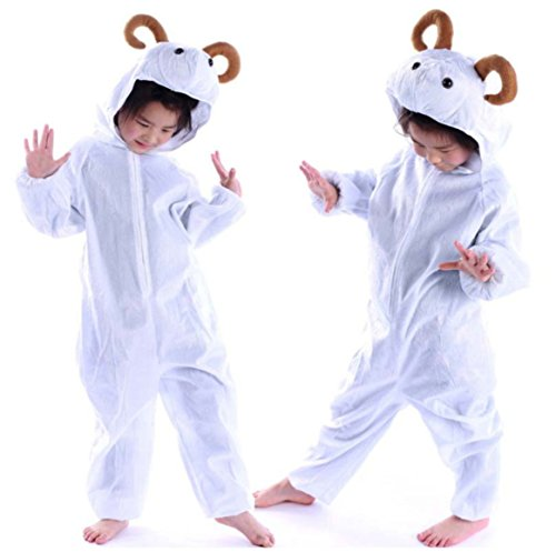 Goat Costume Childs Animal Costumes for Kids Fancy Dress Cosplay Costume Clothes Performance (M(Height 35.4