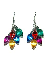 Mini Bright Colored Christmas Bulbs Dangle Earrings (H038)