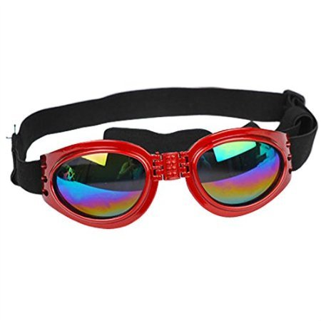 LOBZON Pet Dog Cat UV Protective Foldable Sunglasses Goggles Lenses Multi-Color Adjustable Strap - Red Dog Sunglasses