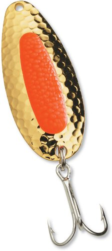 Pixee Spoons - Blue Fox 1/2-Ounce Pixee Spoon, Gold Plated Fluorescent Orange Insert