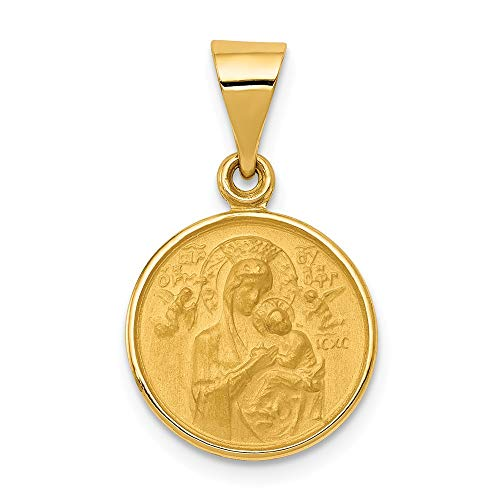 - FB Jewels Solid 18K Yellow Gold Our Lady Of Perpetual Help Medal Pendant