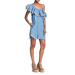 [BLANKNYC] Making Waves Frayed Ruffled Denim Dress