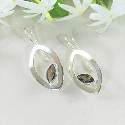 Sivalya GEM DROP 925 Sterling Silver Earrings with Marquise Smoky Quartz Gemstones - Luxury Gift Packaging Included