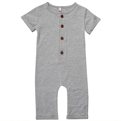 [Infant Boys Black/Grey Button Up Romper Short Sleeve Basic Romper Coveralls (6-12M, Grey)] (Cloth Diaper Basic Package)
