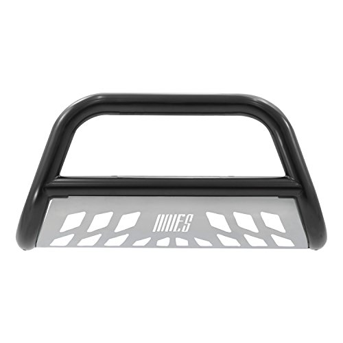 Bar Nissan Bull (Aries B35-9001 Black Bull Bar with Stainless Steel Skid Plate)