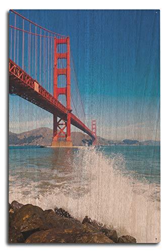 Lantern Press San Francisco, California - Golden Gate Bridge and Ocean Spray - Photography A-92293 (10x15 Wood Wall Sign, Wall Decor Ready to Hang) ()