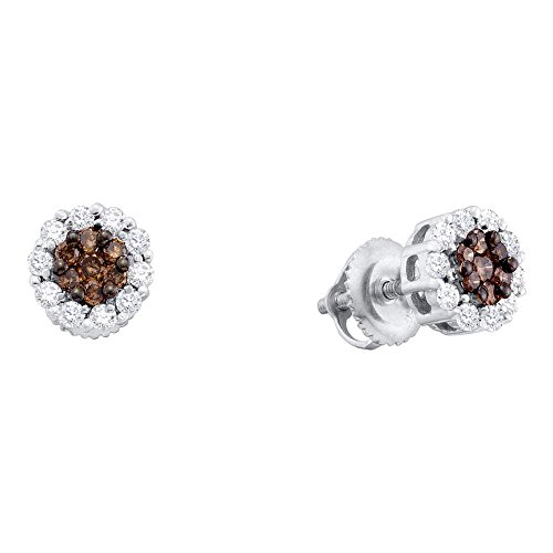 14k White Gold Brown Chocolate and White Round Diamond Stud Earrings - 7mm Height 7mm Width (1/2 cttw)