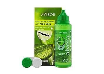 Líquido de lentillas AVIZOR Alvera 1 × 100 ml con estuche. Solución para limpieza y desinfección de todo tipo de lentes de contacto blandas. Formato ...