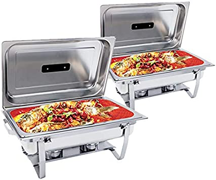 SUNCOO Chafing Dish 8 Quart Stainless Steel Chafer Dish Full Size Chafers Rectangular Chafer W Water Pan, Food Pan, Fuel Holder and Lid For Catering Buffet Warmer Set with Folding Frame 2 Packs
