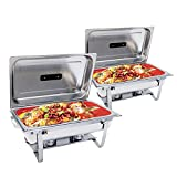 Chafing Dish -SUNCOO 8 Quart Stainless Steel Chafer Dish Full Size Chafers Rectangular Chafer W/Water Pan, Food Pan, Fuel Holder and Lid For Catering Buffet Warmer Set with Folding Frame (2 Packs)