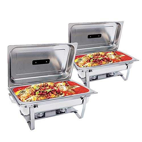 8 Quart Stainless Steel Chafer Dish Full Size Chafers Rectangular Chafer W/Water Pan, Food Pan, Fuel Holder and Lid For Catering Buffet Warmer Set with Folding Frame (2 Packs) ()