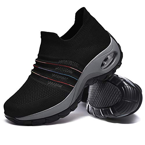 Hotaden Women's Walking Shoes, Slip on Sneakers Flyknit Fashion Comfortable Platform Sneakers Lightweight Sock Shoes Breathable Loafers with Gradient Color Line(Black/Grey,7.5)