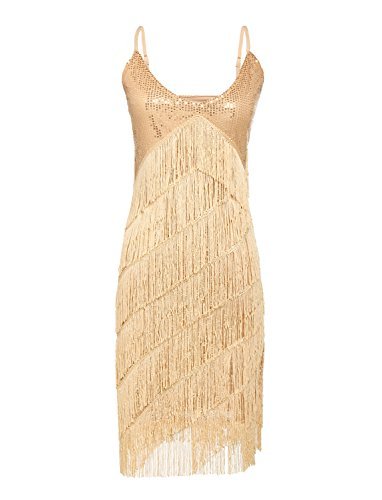 [JustinCostume 1920s Sequins Tassel Cocktail Latin Party Dress (X-Large, Gold)] (Gold Flapper Dress)
