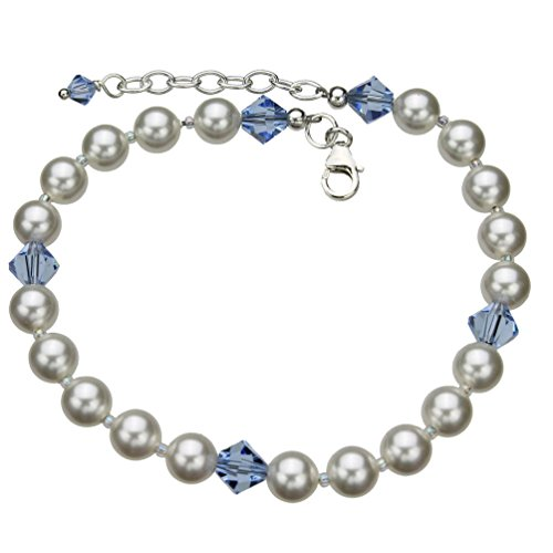 (Sterling Silver Ankle Bracelet, Simulated Pearls Made with Swarovski Crystals 9