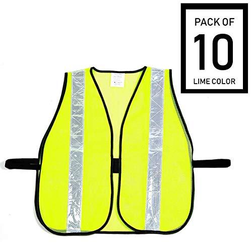 Troy Safety Hi-Vis Vest with Reflective Stripes (10 Pack, Lime Green) ()