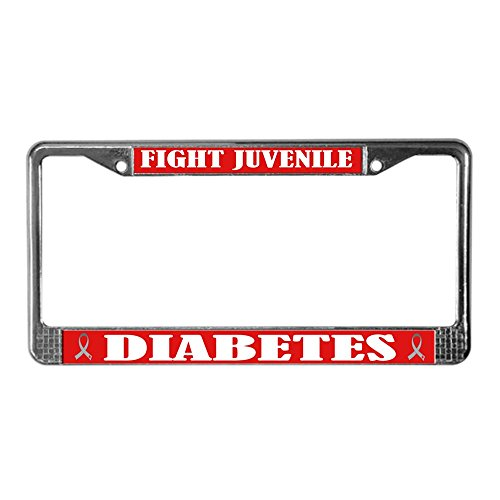 CafePress - Type 1 Diabetes License Plate Frame - Chrome License Plate Frame, License Tag Holder