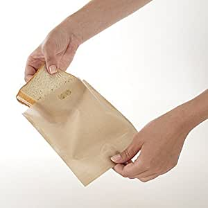 Gluten Free Toaster Bags (6-Piece Set) Reusable, Microwaveable Teflon Pockets | Sandwiches, Grilled Cheese, Panini, Toast | Gluten Free | Microwave, Dishwasher Safe