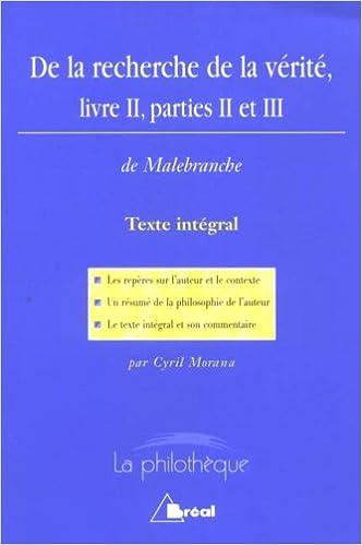 De La Recherche De La Verite Livre Ii Parties Ii Et Iii