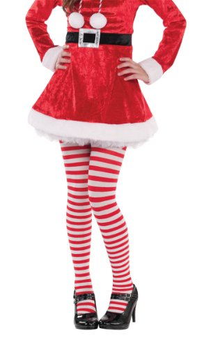 [Amscan Fun-Filled Christmas & Holiday Party Candy Stripe Tights, Red/White, Child Size] (Candy Woman Costumes)