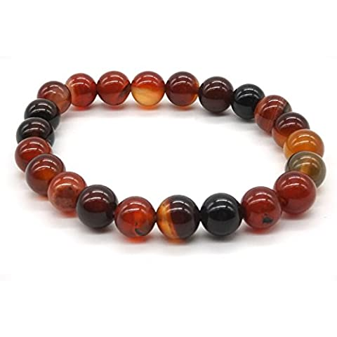 8mm Agate Reiki Energy Therapy Bangle Onyx Stone Bracelet Buddha Prayer Mala Bead Elastic Stone - Onyx Stone Bangles