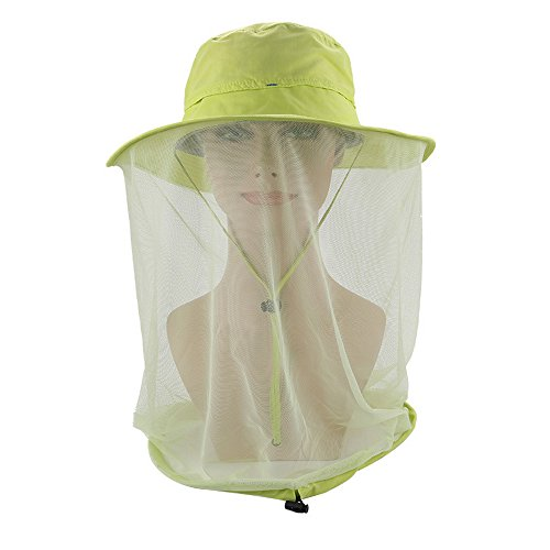 Odsport Women Mosquito Netting Hat All Natural Mosquito Repellent Sun Hat Flap Hats UPF 50+ 360 Degree Solar Protection Sun Cap with Neck Face Mesh Mask Caps for Hiking Traveling (Fruit-Green) For Sale