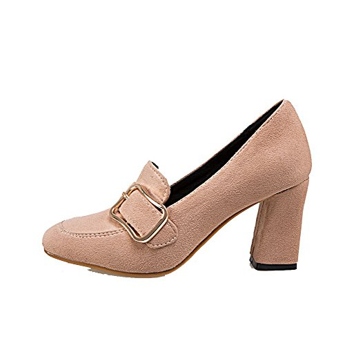 WeiPoot Toe Heels Closed apricot Frosted Round Pumps Women's Pull on High Shoes Solid aFa78rq