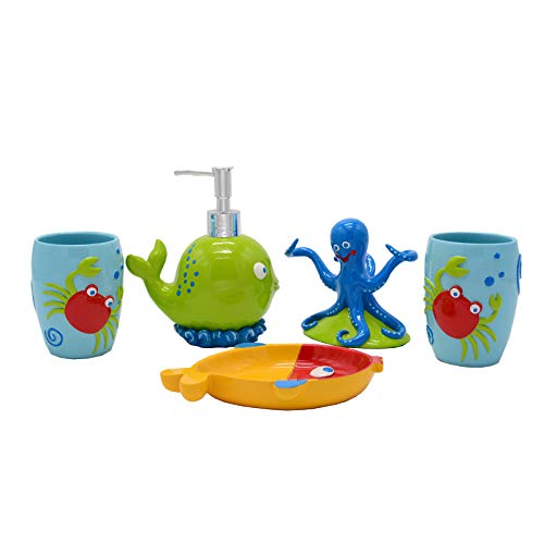 Kids' Bathroom Accessories Set,Crab Shell Starfish Octopus, Whale, Nemo Fish Ceramic Bathroom Accessories 5 Piece Set Tumbler, 1 Toothbrush Holder,2 Toothbrush Cups,1 Soap Dish, 1 Soap Dispenser -
