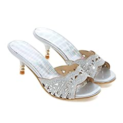22246b54a107 Women s New Rhinestones Open Toe Dress Slip On Slide Sandals .