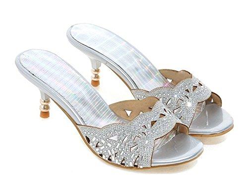 Aisun Womens New Rhinestones Open Toe Dress Slip On Slide Sandals Stiletto Kitten Heels Shoes Silver vlz89