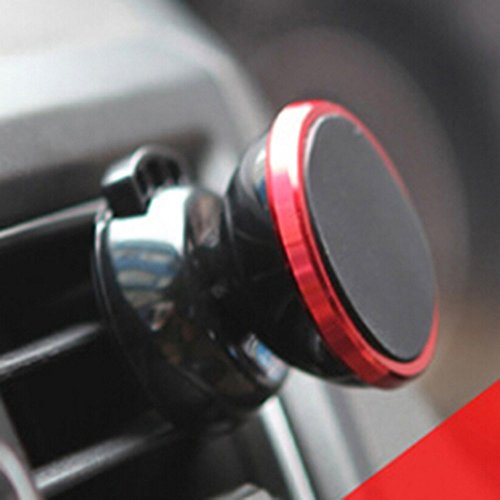 Price comparison product image Car Phone Navigation Support Magnetic Mobile Phone Bracket for Iphone 6s/6, Apple Iphone 5s 5 4s, HTC M9 ,Samsung S5 S4 S3 Etc (Red)