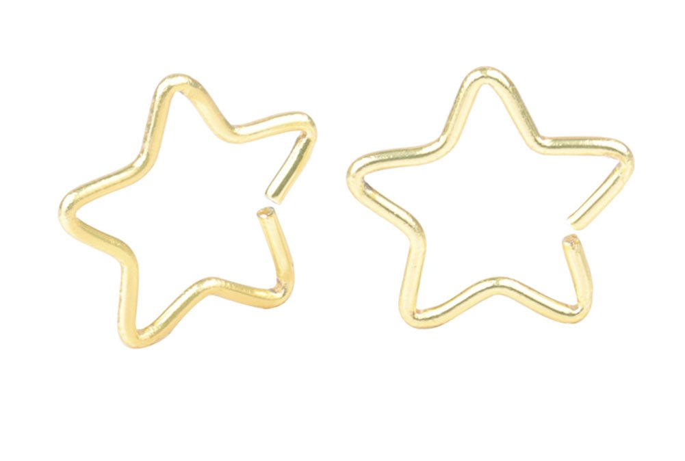 A+ CM 1 Pair Gold Surgical Steel Star Shaped Lip Ear Nose Hoop Ring Earrings Clip Non Piercing Jewelry