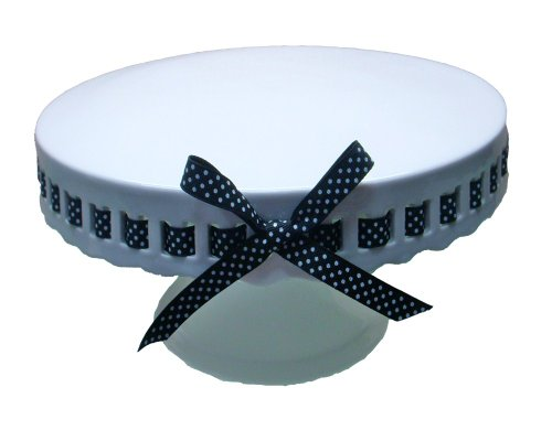 - Gracie China by Coastline Imports 12-Inch Round Porcelain Skirted Cake Stand, Black and White Polka Dot Ribbon
