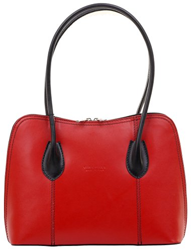 - Primo Sacchi Italian Smooth Red Black Leather Classic Long Handled Handbag Tote Grab Shoulder Bag