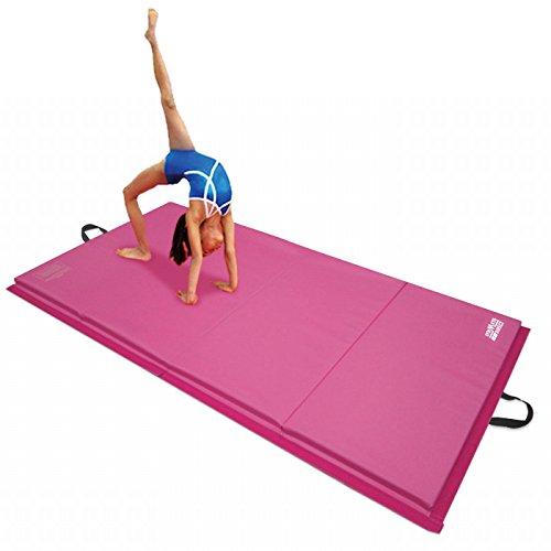 Gymmatsdirect 4'x10'x2″ Gymnastics Tumbling Exercise Mat, High Density EPE Foam Core Folding Gym Mats, Pink