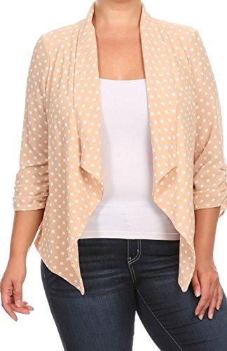 2LUV Plus Women's Open Front Gathered Sleeve Plus Size Blazer – X-Large, Beige White