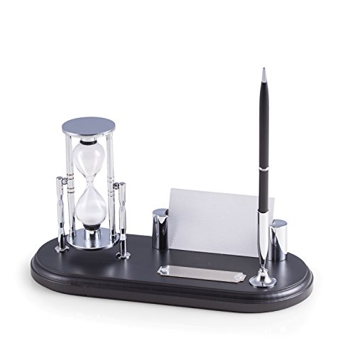 Time Factory AJ-D819 Wood & Chrome Plated Pen Stand with 3 Minute Sand Timer and Business Card Holder, (Hourglass Stand)