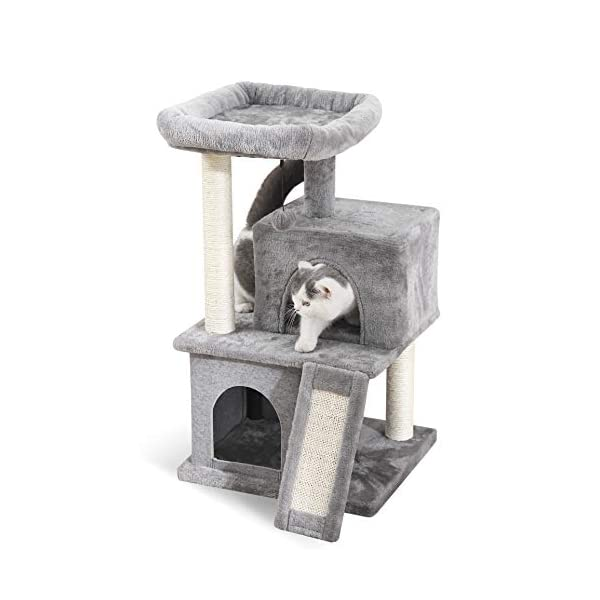 PAWZ Road Cat Tree Luxury Cat Tower with Double Condos, Spacious Perch, Fully Wrapped Scratching Sisal Posts and Replaceable Dangling Balls 1