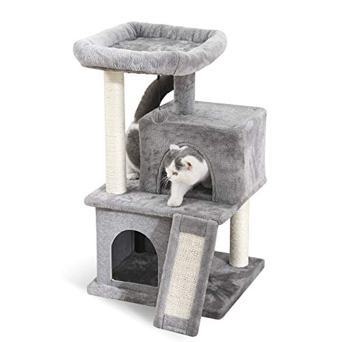 (PAWZ Road Cat Tree Luxury Cat Tower with Double Condos, Spacious Perch, Fully Wrapped Scratching Sisal Post and Replaceable Dangling Balls Gray)