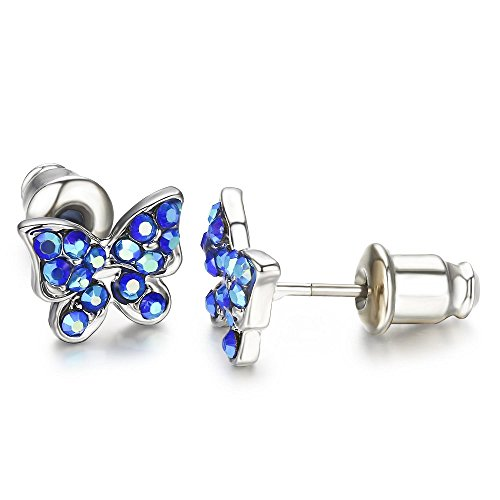 Stainless Steel Sapphire Crystal - Buyless Fashion Surgical Stainless Steel Butterfly Stud Earrings - Sapphire