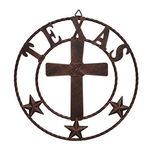 EBEI Metal Cross Wall Decor Circle Rustic Texas Decorative Wall Cross Western Home Decor 15