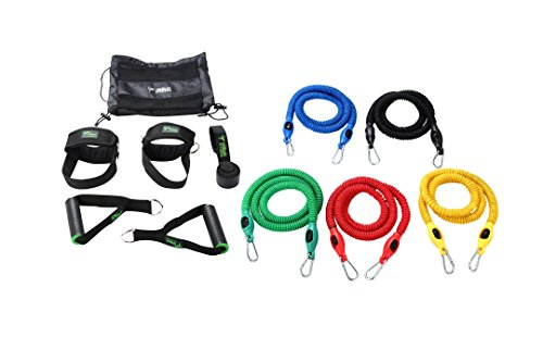 11pcs Stackable Resistance Band Set includes – 5 Anti-Snap Exercise Band tubes, Door Anchor, 2 Handles, and 2 Ankle Straps