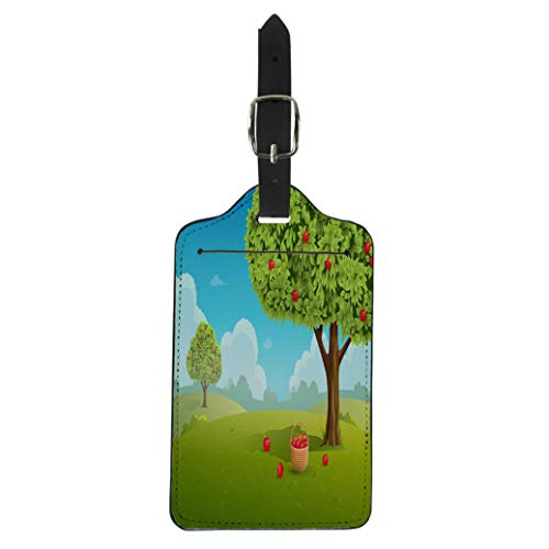 Semtomn Luggage Tag Green Tree Apple Orchard Basket of Apples Landscape Red Suitcase Baggage Label Travel Tag Labels