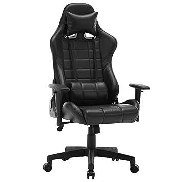 Silla de Masaje de Cuero Ergonómico Girar Malla de Espalda Alta Ajustable Silla e-Sports Café Internet Reclinable Ejecutivo Gaming Office Deluxe Chair, ...