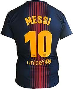 Camiseta Jersey Futbol Barcelona Lionel Messi 10 Replica Autorizado 2017-2018 Niños (2,4,6,8,10,12,14 año) Adultos (Small, Medium, Large, Xlarge) (Talla 2 Años)